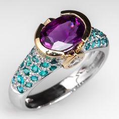 Purple Sapphire & Cuprian Tourmaline Ring 18K Two-Tone Gold