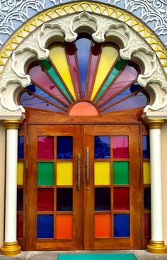 Colorful door in Surat, Gujarat, India.