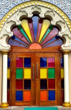 Colorful door in Surat, Gujarat, India.