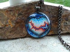 "Fractal lightning strike heart glass pendant necklace, Glass pendant jewlery, 1.5"" by SequoiaVibes on Etsy"