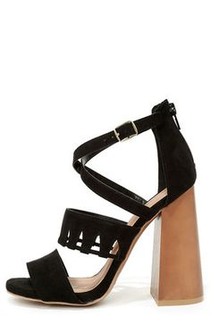 """Whether you're a disco diva, or Bohemian queen, you'll be hip to the groove with the Get Down Tonight Black High Heel Sandals! These foxy peep toes are made from a soft vegan suede with a cutout strap across the vamp, and more crossing straps that secure with an adjustable gold buckle. Sturdy heel cup has a 2.75"""" zipper."""