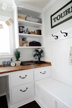 Office: Love built in desk and shelves and wood desk top Built In Desk, Built Ins, Office Nook, Office Hub, Office Ideas, White Office, Wood Counter, Counter Top, Office Makeover