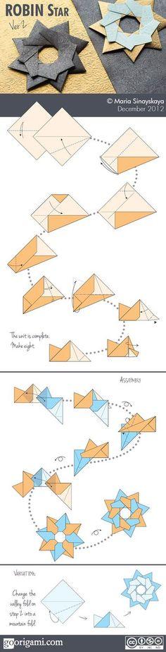Robin Star (ver Dec Type: modular origami star Designer: Maria Sinayskaya Units: 8 for Christmas ceiling ornaments Diy Origami, Origami Modular, Origami And Kirigami, Paper Crafts Origami, Origami Stars, Oragami, Dollar Origami, Simple Origami, Origami Ideas