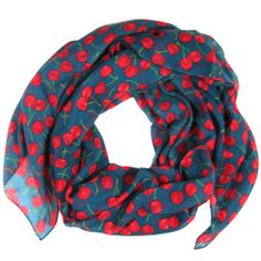 Scarves decorated with a Cherries print design (Dark teal color) www.zipzappa.co.uk