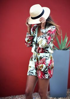 Floral jumpsuit and Panama hat