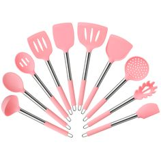 Shop for Pink Cooking Utensils in Kitchen Tools & Gadgets. Buy products such as Kitchen Cooking Silicone Spatula Heat Resistant Turner Scraper Baking Utensils Pink at Walmart and save. Kitchen Utensils, Kitchen Tools, Kitchen Gadgets, Pink Kitchen Appliances, Kitchen Cupboard, Cooking Utensils, Cooking Tools, Pink Kitchen Decor, Stainless Steel Utensils
