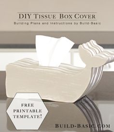 Build a DIY Wooden Tissue Box Cover – Building Plans by - Free template and step by step Photo tutorial Bildanleitung und gratis Schnittvorlage Tissue Box Holder, Tissue Box Covers, Tissue Boxes, Hair Tool Storage, Space Saving Bathroom, Shape Templates, Finger Joint, Wooden Diy, Wooden Crafts