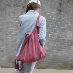 Women cotton linen Carmine backpack