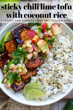 Sticky Chili Lime Tofu with Coconut Rice – Asian Foods Veggie Recipes, Whole Food Recipes, Cooking Recipes, Healthy Recipes, Asian Tofu Recipes, Summer Vegetarian Recipes, Sticky Rice Recipes, Smoothies, Clean Eating