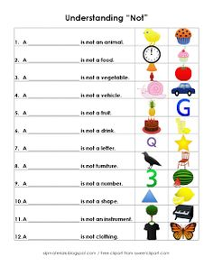 "Ms. Lane's SLP Materials: Receptive Language-Understanding ""Not"". Pinned by SOS Inc. Resources. Follow all our boards at http://pinterest.com/sostherapy for therapy resources. Free speech therapy worksheets and activities for speech-language pathologists, teachers, and parents!"