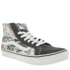 Vans Multi Sk8-hi Slim Tropical Womens Trainers Breeze into summer with the Vans Sk8-Hi Slim Tropical. The iconic hi-top skate profile arrives in grey suede, joined with multi-coloured printed fabric panels and signature Sidestripe branding in whit http://www.MightGet.com/january-2017-13/vans-multi-sk8-hi-slim-tropical-womens-trainers.asp