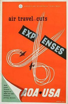 DP Vintage Posters - American Overseas Airlines Original Travel Poster Air Travel Cuts Expenses