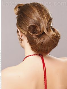 Flared Bun Dramatic Updo Back View