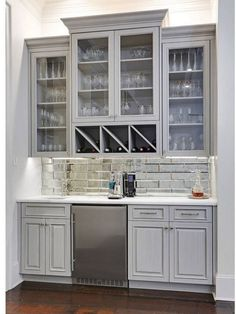 27 new ideas farmhouse dining buffet built ins Diy Home Bar, Bars For Home, Kitchen Nook, Kitchen Decor, Kitchen Dining, Kitchen Stools, Decorating Kitchen, Glass Kitchen, Diy Kitchen