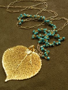 Gold Aspen Leaf with Turquoise Vermeil Cluster by allisonmooney