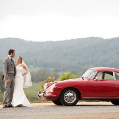 Charlottesville, VA wedding at Pippin Hill Farm & Vineyards with a red Porsche 356 getaway car!