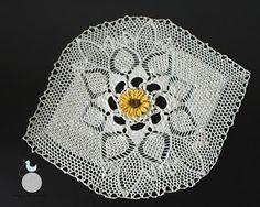 Lady with crochet: Serwetka ze słonecznikiem / Crochet doily, sunflower