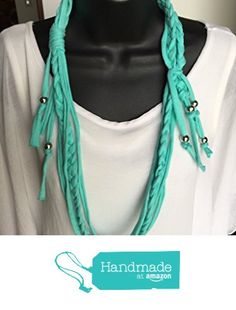 T-shirt Pastel Braided Turquoise Necklace Infinity Unique Accessories Spring Fashion Trendy Stranded Handmade One of a Kind Shabby Chic Tshirt Upcycled https://www.amazon.com/dp/B06XK6C13P/ref=hnd_sw_r_pi_dp_KPBXyb9TKWFW8 #handmadeatamazon