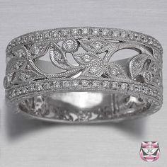 Diamond Wedding Band Art Nouveau  - Special Order