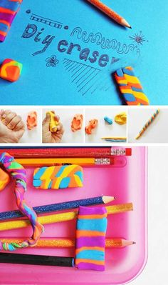 Back to School Art & Design Activity: DIY Erasers - Babble Dabble Do Back To School Art, Back To School Crafts, Art School, Back To School Diy For Teens, School Lunch, Crafts For Teens, Projects For Kids, Craft Projects, Kids Crafts
