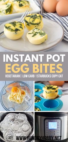 Love Starbucks Sous Vide Bites? Make your own for a fraction of the cost using your Instant Pot! These Spinach Gruyere Instant Pot Egg Bites are even freezer friendly! #glutenfree #lowcarb #breakfast #eggs #starbucks #instantpot #vegetarian #hungryhobby