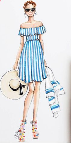 dress for wedding summer dress summer dress midi summer dress with sleeves summer dresses for weddings summer dresses plus size blue dress blue dress party blue dress style Summer Dresses Trend 2019 Dress Design Drawing, Dress Design Sketches, Fashion Design Sketchbook, Dress Drawing, Fashion Design Drawings, Fashion Sketches, Sketch Drawing, Drawing Tips, Fashion Drawing Dresses