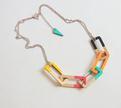 Link Necklace Wood Chain NecklaceGeometric Jewelry by LiKeGjewelry