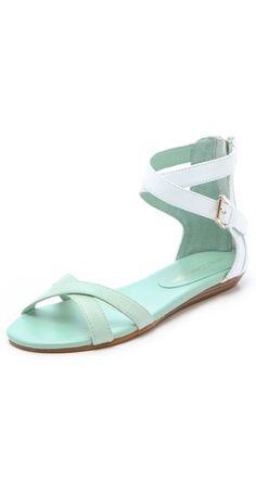 Rebecca Minkoff Bettina Two Tone Flat Sandals | More pastel lusciousness here: http://mylusciouslife.com/prettiness-luscious-pastel-colours/