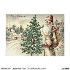 Santa Claus Christmas Tree Sack of Toys Church 5x7 Paper Invitation Card