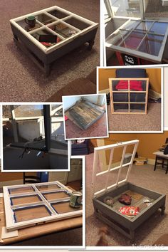 """Old antique window used to make a """"showcase"""" coffee table. This one was challenging, the inside is all pallet wood. Rest is made out of 2x6's.   #antique #custom #diy #handmade #wood #window #oldwindow #patina #pallet #coffeetable #showcase #love #awesome #upcycle #recycle #cool #dogs"""