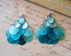 Teal shell earrings chandelier.