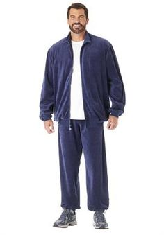 Big and Tall Solid Velour Tracksuit cf5a1999c0ab