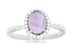 This good-looking Amethyst Ring features 0.14 ct of Diamond and 1.3 ct of Amethyst. The Ring is made of 14K White Gold