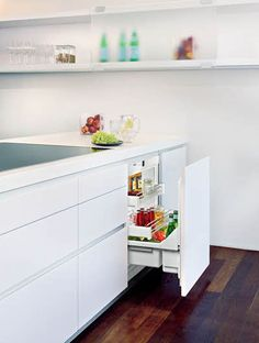 Liebherr integrated, under bench fridge. A real competitor to Fisher & Paykel's Izona Cooldrawer.