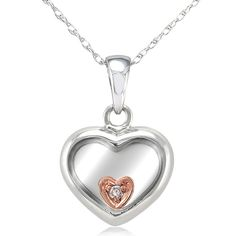 Cute and charming as it looks, this lovely heart pendant makes the perfect gift for your loved ones. Its instant beauty is enhanced with one dainty diamond in round-cut style, sparkling from a sophist