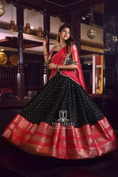 Beautiful black and pink color combiantion lehenga and blouse with net dupatta. Lehenga with big jari boarder. Blouse with jari sleeves.For orders/queries Call/ whats app orMail tejasarees Li Indian Lehenga, Half Saree Lehenga, Lehnga Dress, Saree Look, Black Lehenga, Lehenga Gown, Indian Gowns Dresses, Indian Fashion Dresses, Dress Indian Style