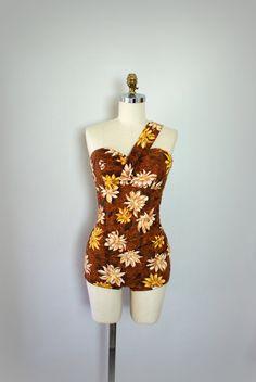 Vintage 1950s Swimsuit - Hawaiian Floral Print Cotton Bathingsuit - The Big Island