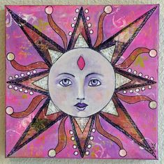 Sun Face Original Mixed Media Art Collage by CharlottesCollection