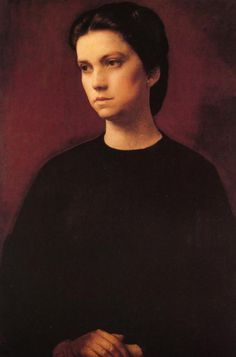 'Portrait of a Lady in Black with her Hands on her Lap', Pietro Annigoni