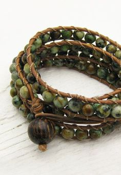 African Turquoise Leather 4x Wrap Bracelet / bohemian