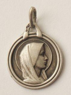 Portrait of Holy Virgin Mary Vintage Silver by CherishedSaints