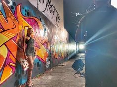 """Pin for Later: Exclusive! Leslie Grace Gives You a Sneak Peek at Her New Music Video For """"Aire"""" Wrapping Up the Shoot by a Graffiti Wall"""
