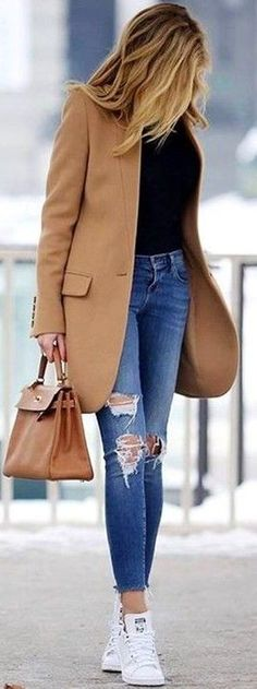 #fall #trending #outfits | Camel Coat   Black Sweater   Ripped Denim