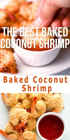 The Best Baked Coconut Shrimp - These Baked Coconut Shrimp are golden, crispy and full of flavor. These are the BEST baked coconut shrimp I have ever made! Find out how to make this easy and healthy coconut shrimp recipe! Healthy Coconut Shrimp, Coconut Prawns, Coconut Shrimp Recipes, Best Shrimp Recipes, Salmon Recipes, Fish Recipes, Seafood Recipes, Fried Shrimp Recipes, Seafood Appetizers