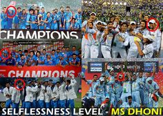 Mahendra Singh Dhoni standing behind in all world cups & series win Indian Team celebration pics.  This shows his greatness of MS Dhoni.