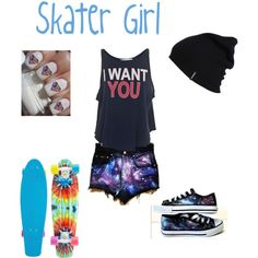 skater girl outfits - 'I want you' ??