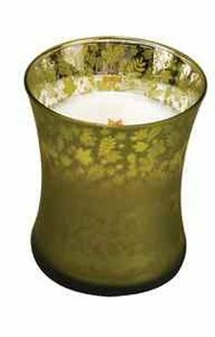 WOODWICK 9OZ DANCING GLASS CANDLE - APPLE TREE - (The Dancing Glass line features frosted glass with cut-outs that create 'dancing' silhouettes as the candle burns)