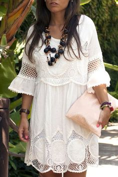 Fashionable 3/4 Sleeve Scoop Neck Lace Splicing Dress For Women (WHITE,XL) | Sammydress.com