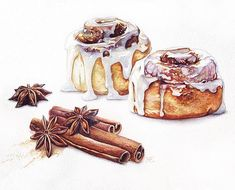 Drawing cardamon and bun food art food art painting, food painting, dessert Food Art Painting, Desserts Drawing, Food Sketch, Watercolor Food, Cinnabon, Food Drawing, Mets, Macaron, Food Illustrations