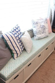 These are our window benches made from Ikea Expedit shelves. See my tutorial here: Ikea No-Sew Window Bench Tutorial . Ikea Kallax Hack, Banquette Ikea, Banquette Seating, Lounge Seating, Extra Seating, Ikea Bench, Window Benches, Window Seats, Bedroom Decor